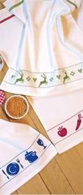 framsohn Waffelpiqueküchentuch Obst & Gemüse mit weißem Hintergrund