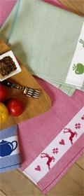 framsohn Waffelpiqueküchentuch Obst & Gemüse  mit farbigem Hintergrund